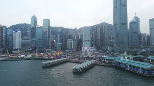 hong kong harbour aerial view - central district hong kong stock videos & royalty-free footage