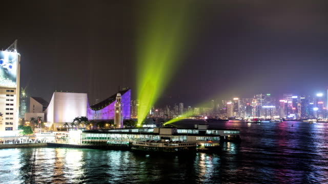 Hong Kong Harbour at night, time-lapse
