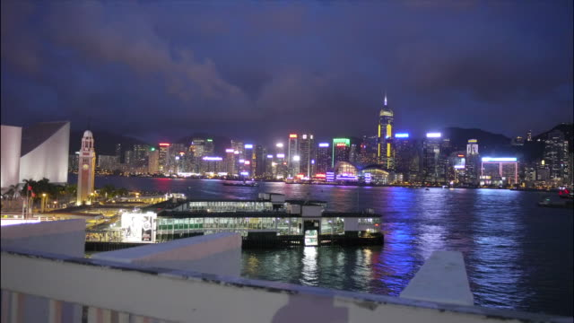 Hong Kong harbour day to night time lapse