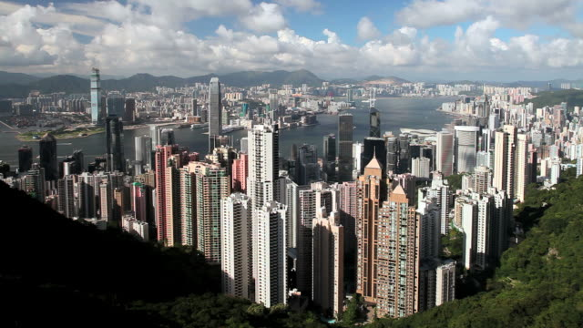 hong kong, high angle from victoria peak, mount austin,, hong kong island across harbour to kowloon, locked off. - bank of china tower hong kong stock videos and b-roll footage