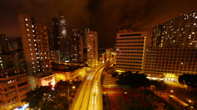 vídeos y material grabado en eventos de stock de hong kong highway and skyline time lapse at night. - kowloon