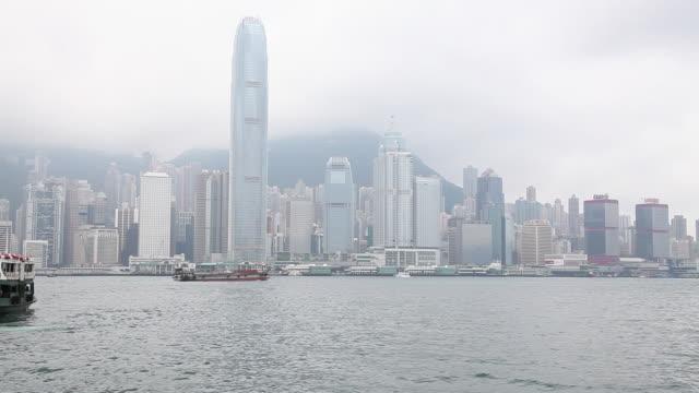 hong kong, hong kong island, skyline and victoria harbor - hong kong island stock videos & royalty-free footage