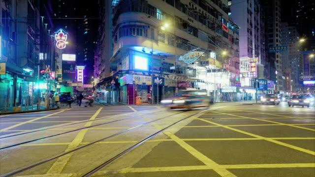 vidéos et rushes de hong kong intersection, cityscape timelapse - ligne de tramway