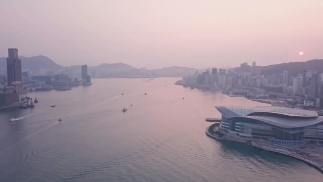 hong kong island and downtown city centre. aerial drone view at sunrise - hong kong island stock videos & royalty-free footage