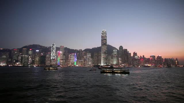 ws hong kong island and  harbour  at sunset - hong kong island stock videos & royalty-free footage