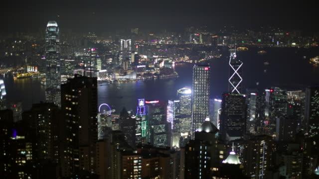 ws hong kong island cityscape skyline at night - hong kong island stock videos & royalty-free footage