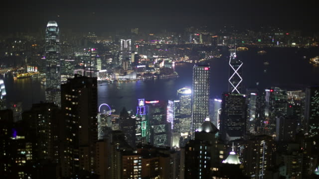stockvideo's en b-roll-footage met ws hong kong island cityscape skyline at night - hongkong eiland