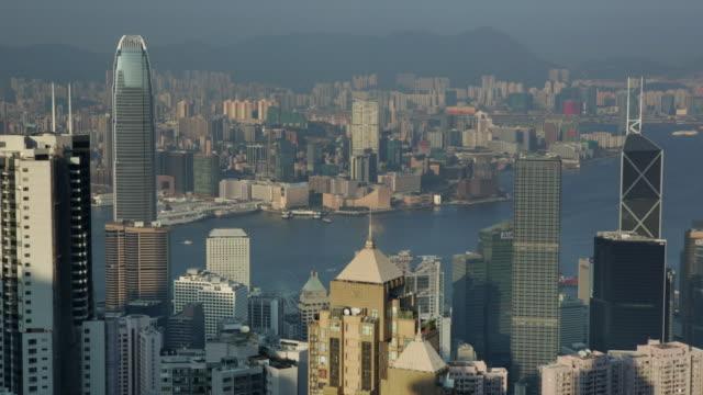 stockvideo's en b-roll-footage met ms hong kong island cityscape skyline - hongkong eiland