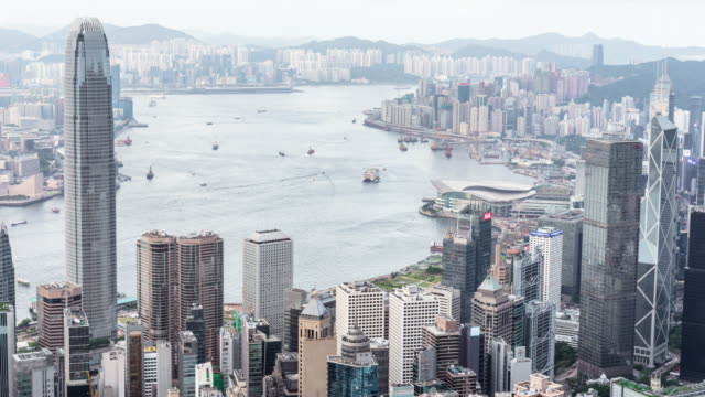 hong kong island cityscape skyline - victoria harbour hong kong stock videos and b-roll footage