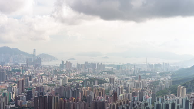 hong kong island cityscape skyline - hong kong island stock videos & royalty-free footage