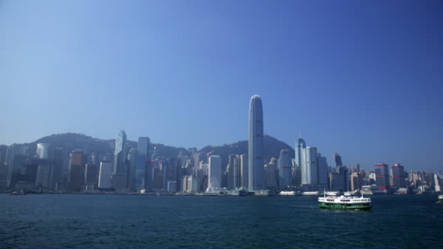 ws hong kong island cityscape skyline with star ferry - star ferry stock videos & royalty-free footage