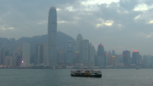 hong kong island cityscape, star ferry, hong kong - star ferry stock videos & royalty-free footage