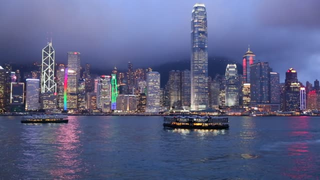 hong kong island from kowloon at night - star ferry stock videos & royalty-free footage