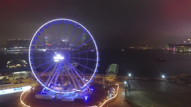hong kong island observation wheel and victoria harbor. no audio - hong kong island stock videos & royalty-free footage