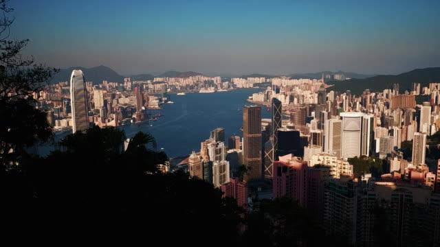 hong kong island seen from victoria peak, hong kong - hong kong island stock videos & royalty-free footage