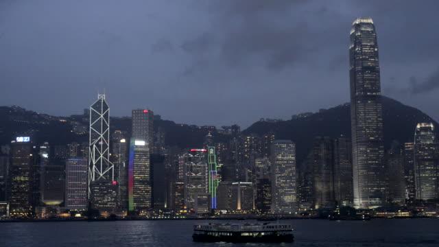 hong kong island skyline at night - hong kong island stock videos & royalty-free footage