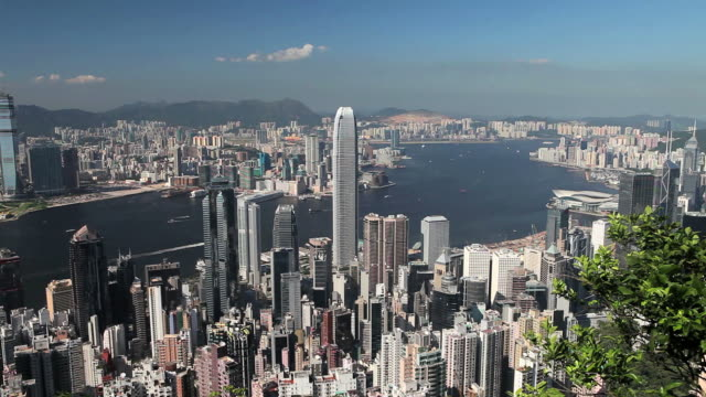 Hong Kong Island skyline, high rises of Wan Chai, and harbour with Star Ferry, locked off