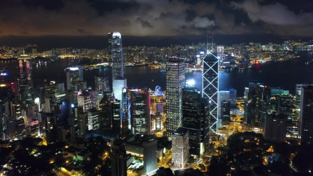 hong kong island victoria harbour and kowloon aerial - skyline stock videos & royalty-free footage