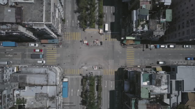 hong kong, kowloon aerial drone view - halbnahe einstellung stock-videos und b-roll-filmmaterial
