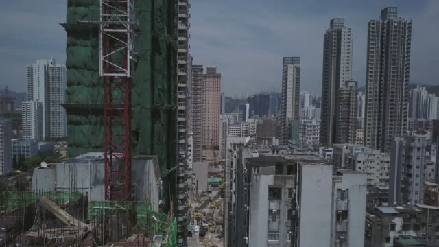 Hong Kong, Kowloon aerial drone view