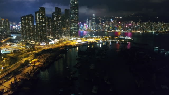 hong kong kowloon area night aerial series - kowloon stock videos and b-roll footage