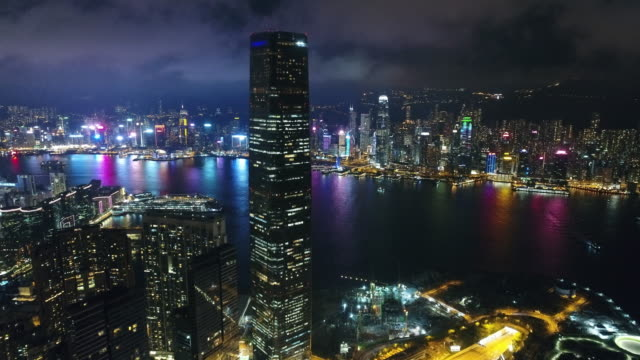 Hong Kong Kowloon Bereich Night aerial Serie