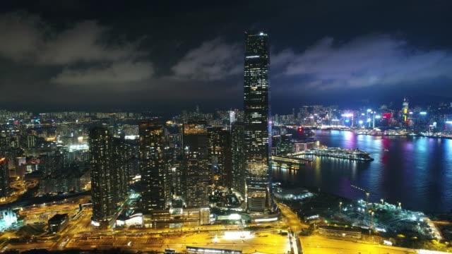 Hong Kong Kowloon area night aerial series