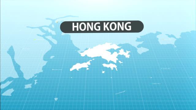 hong kong map - china east asia stock videos & royalty-free footage