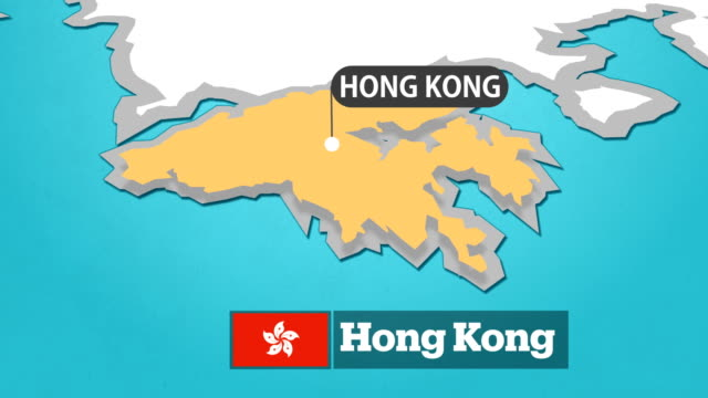 hong kong map with flag - china east asia stock videos & royalty-free footage