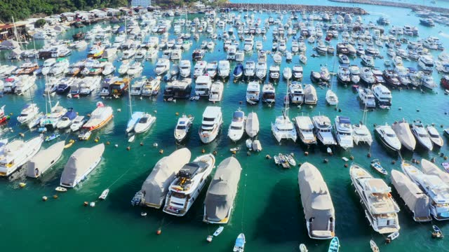hong kong marina aerial view by drone - moored stock videos & royalty-free footage