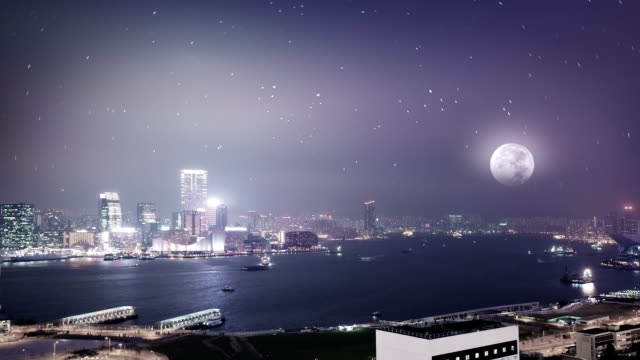 hong kong moon night - central plaza hong kong stock videos & royalty-free footage
