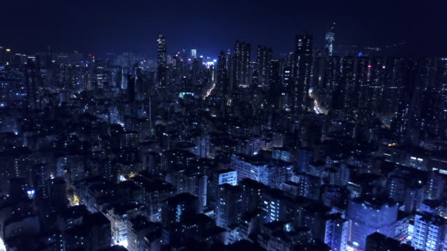 hong kong night aerial of kowloon - slum stock videos & royalty-free footage