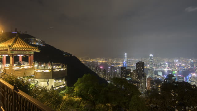 hong kong night from victoria peak - victoria peak stock videos & royalty-free footage