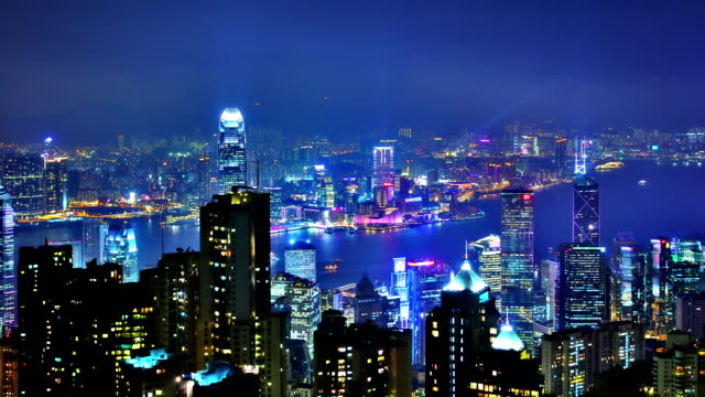hong kong night - bank of china tower hong kong stock videos & royalty-free footage