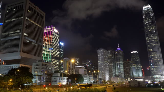 hong kong night - central plaza hong kong stock videos & royalty-free footage