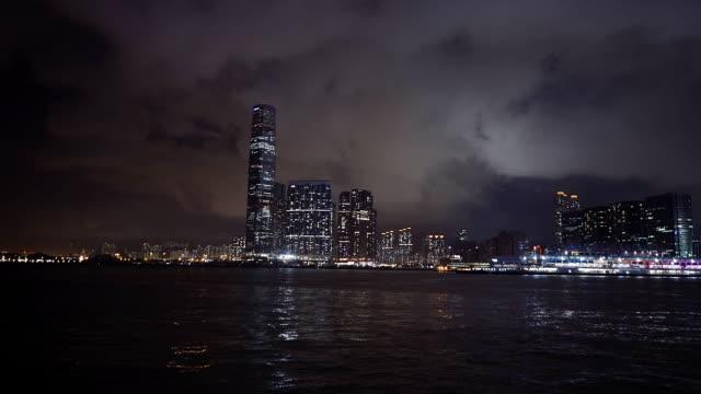 hong kong night - hsbc main building stock videos and b-roll footage
