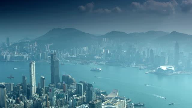 vídeos de stock, filmes e b-roll de panorama de hong kong - ilha de hong kong