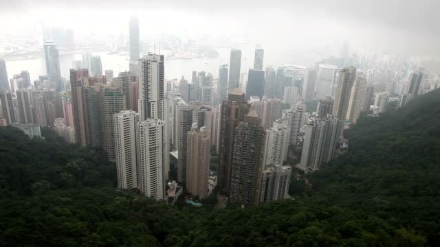 stockvideo's en b-roll-footage met hong kong peak on a cloudy day - hongkong eiland