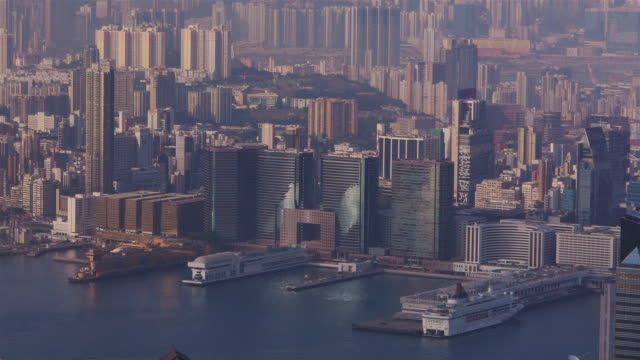 hong kong port. view from the peak - spoonfilm stock-videos und b-roll-filmmaterial