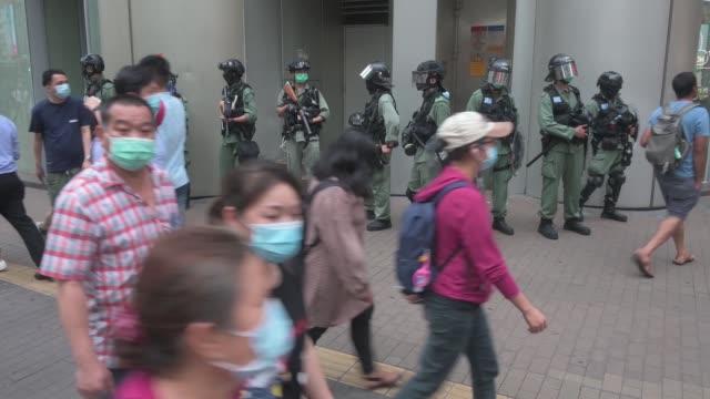 hong kong protesters rally against china's national security law at mongkok district on may 27, 2020 in hong kong, china. chinese premier li keqiang... - hong kong stock videos & royalty-free footage
