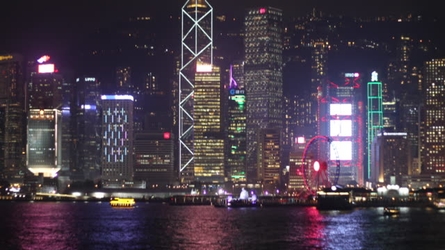 stockvideo's en b-roll-footage met hong kong skyline and victoria bay,china - ferry