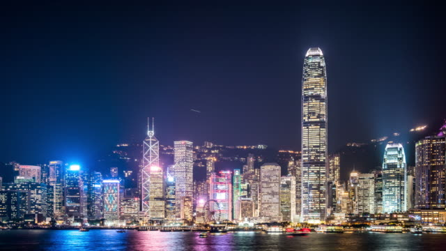 t/l ws zo hong kong skyline at night / hong kong, china - bank of china tower hong kong stock videos & royalty-free footage