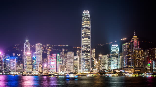 t/l ws pan hong kong skyline at night / hong kong, china - bank of china tower hong kong stock videos & royalty-free footage