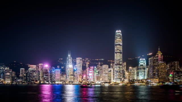 t/l ws hong kong skyline at night / hong kong, china - bank of china tower hong kong stock videos & royalty-free footage