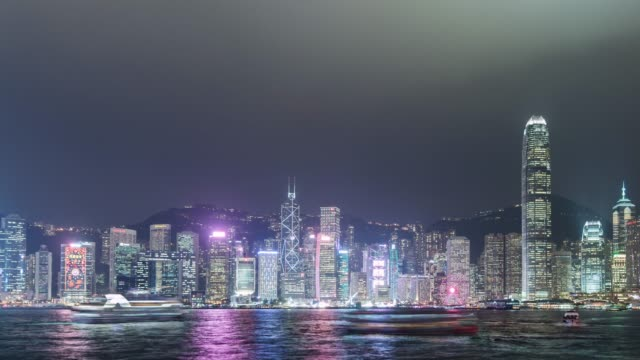 t/l ws td hong kong skyline at night - westernisation stock videos & royalty-free footage