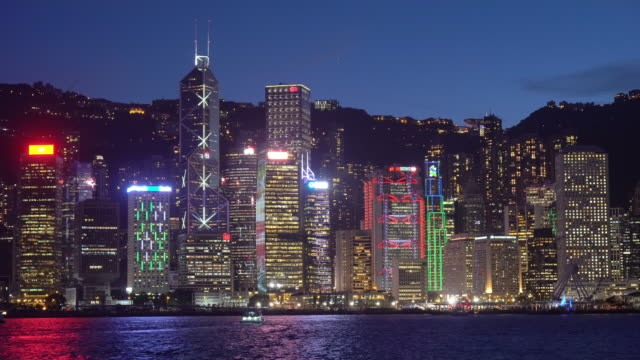 hong kong skyline at night - skyline stock videos & royalty-free footage