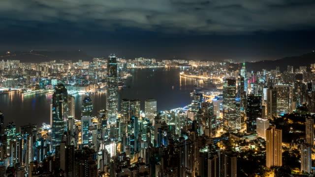 Hong Kong Skyline bei Nacht/Zeitraffer