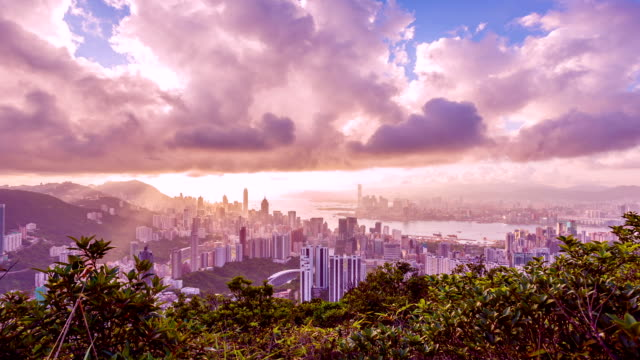 stockvideo's en b-roll-footage met hong kong skyline - central district, victoria harbor, victoria peak, hongkong - hong kong