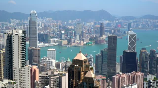 vidéos et rushes de hong kong skyline from victoria peak - victoria peak