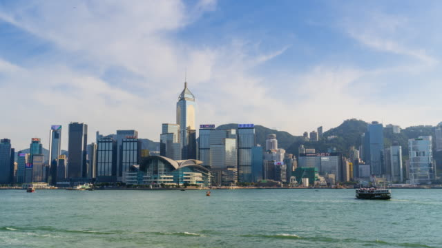 hong kong skyline time lapse - central plaza hong kong stock videos & royalty-free footage